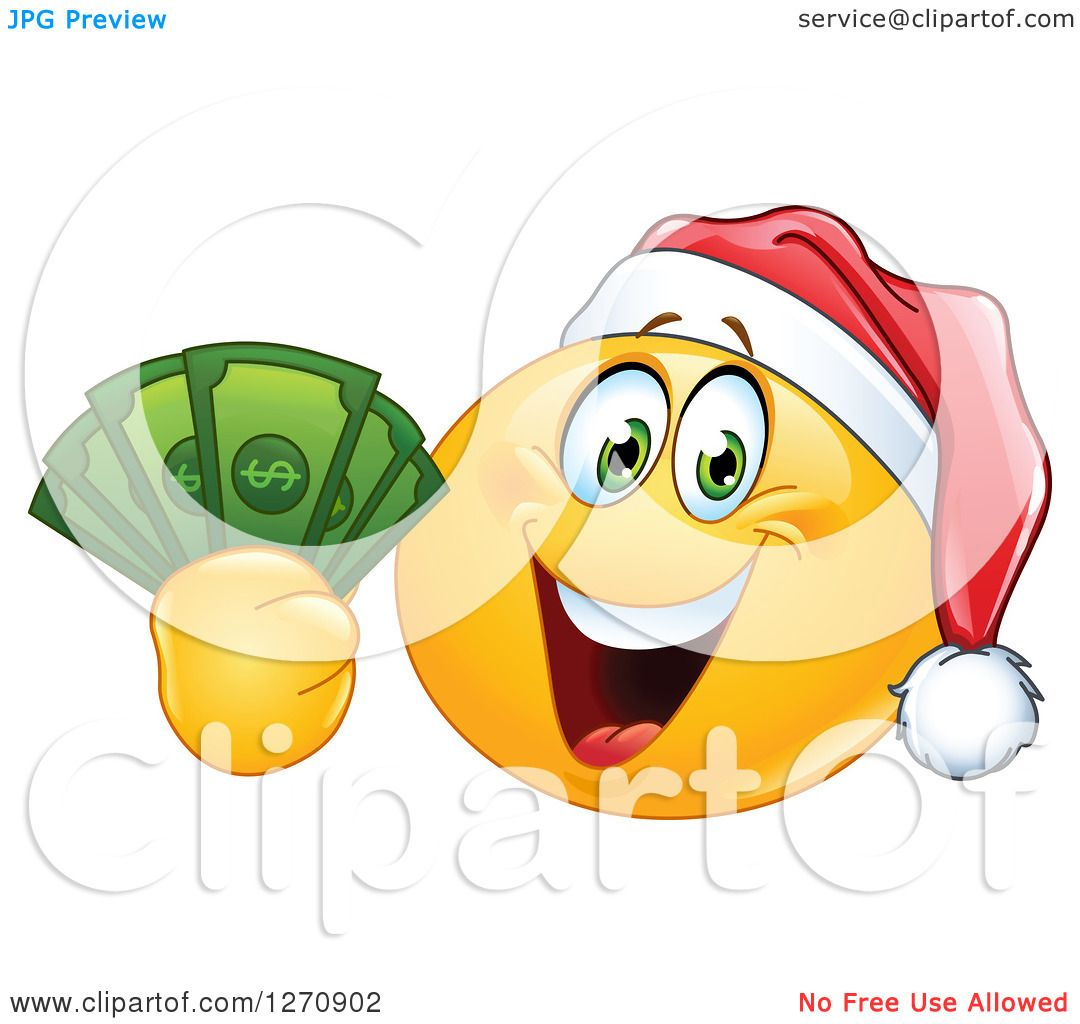 clipart of a happy emoticon smiley wearing a christmas
