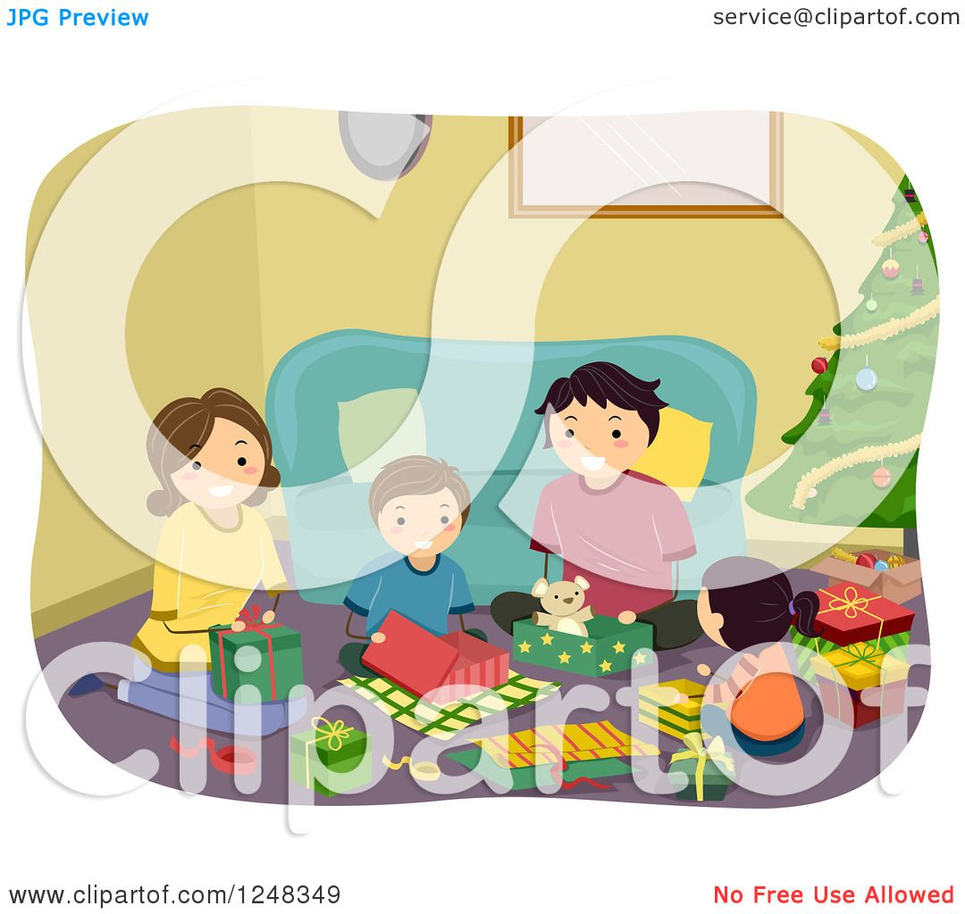 Clipart of a Happy Family Opening Gifts on Christmas Day ...