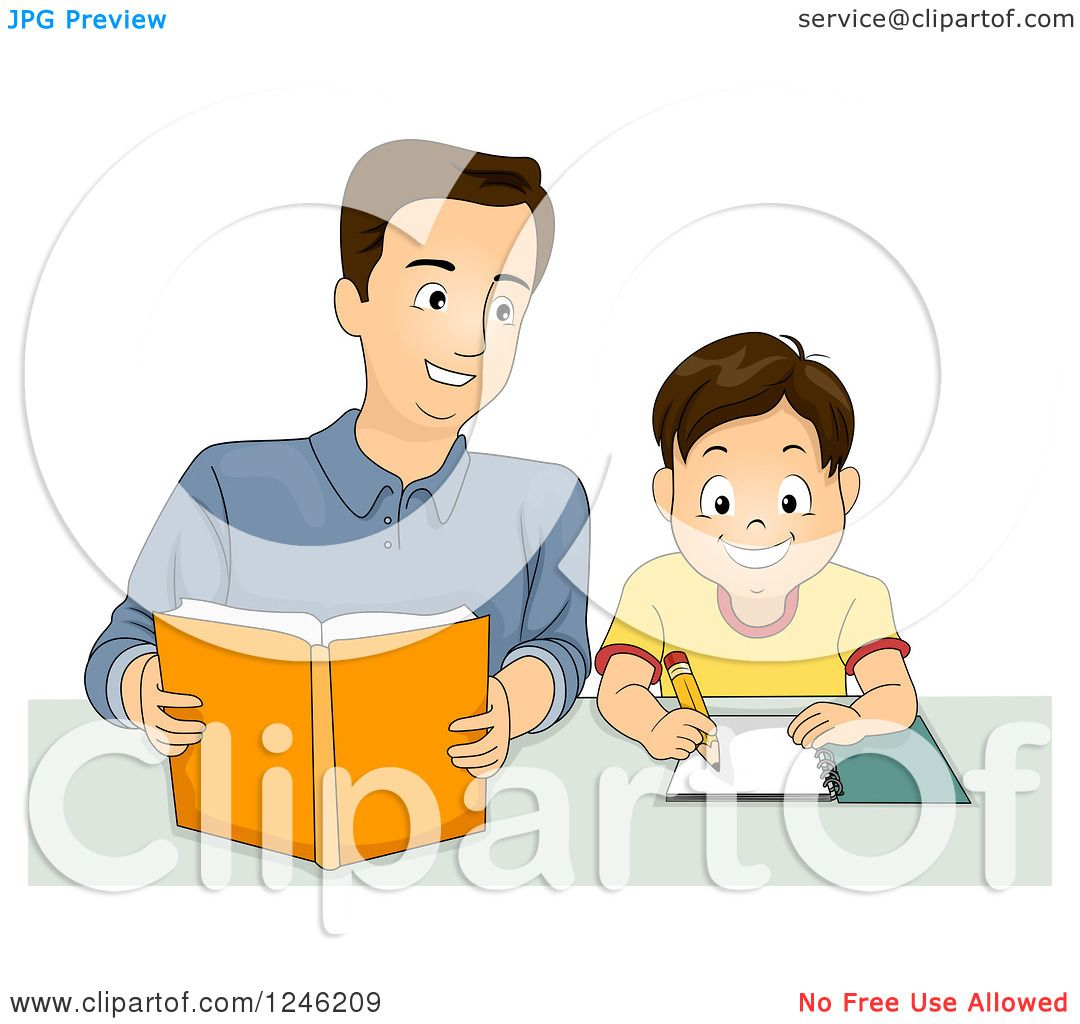 clipart of a happy father helping his son with homework royalty rh clipartof com Reading Clip Art Doing Homework Clip Art