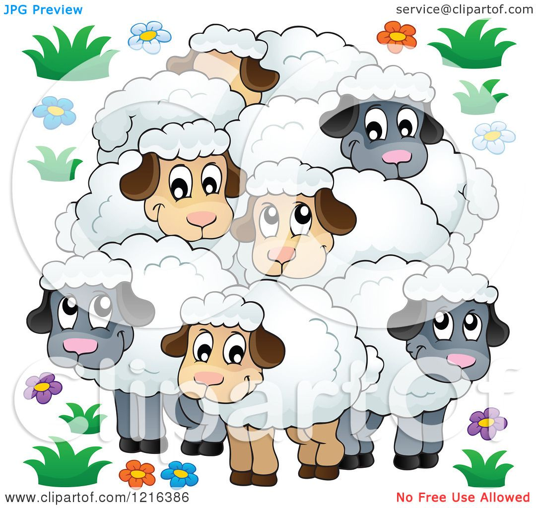 Clipart Of A Happy Flock Of Sheep Royalty Free Vector