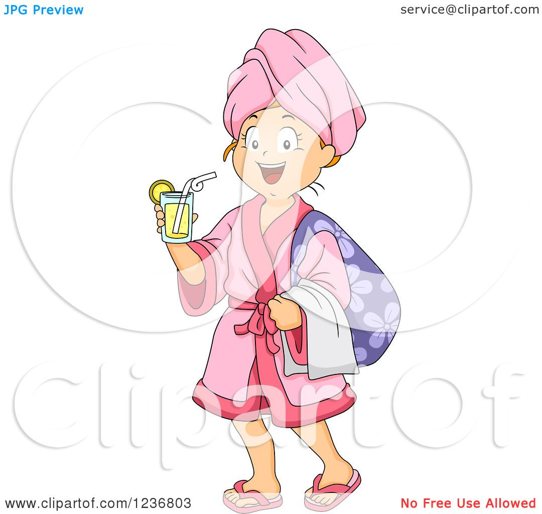 Girls Spa Day Clip Art Clipart of a happy girl with a