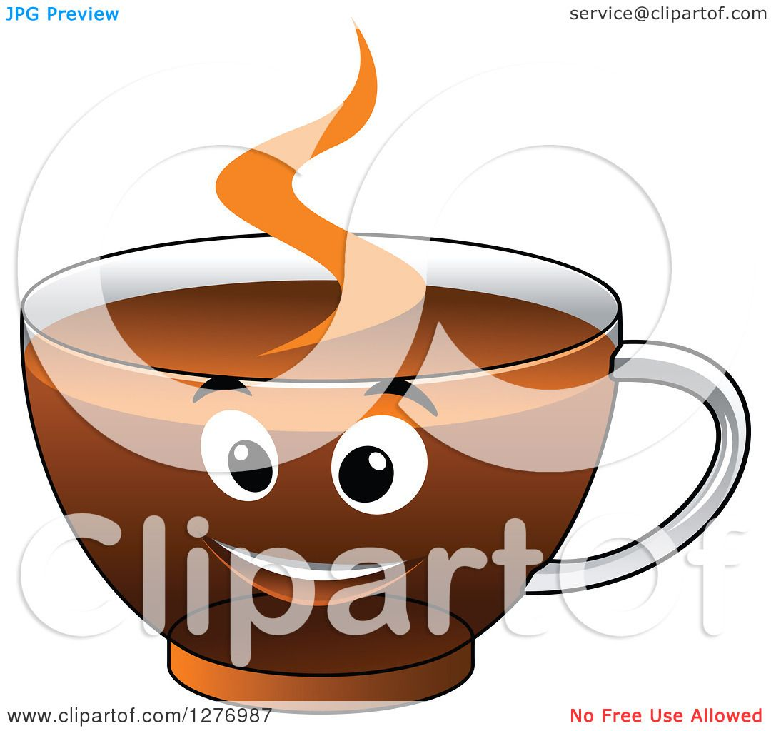 Clipart of a Happy Glass Cup of Hot Tea or Coffee ...