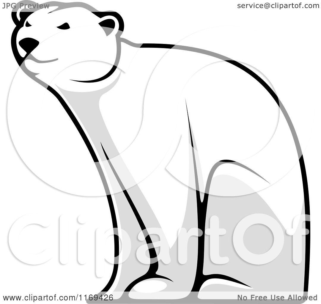 Clipart of a Happy Grayscale Polar Bear Bear Sitting ...