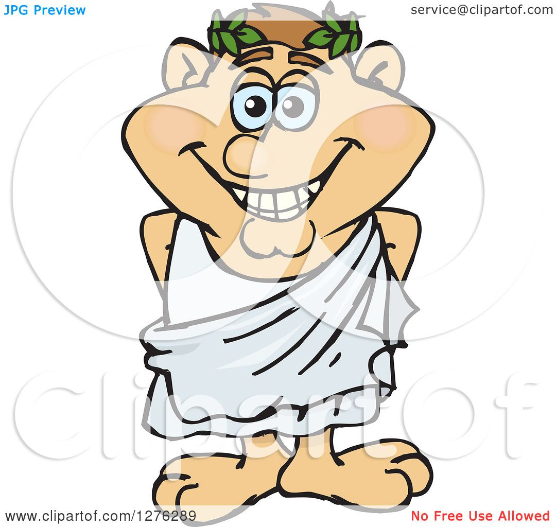 Clipart of a Happy Greek Man in a Toga - Royalty Free Vector ...