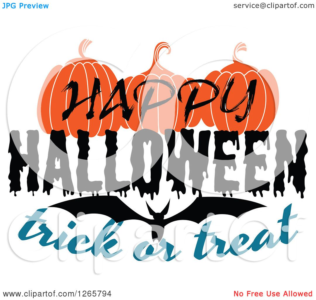 clipart of a happy halloween trick or treat bat and pumpkin design royalty free vector Martini Glass Drawing Cartoon Martini Glass