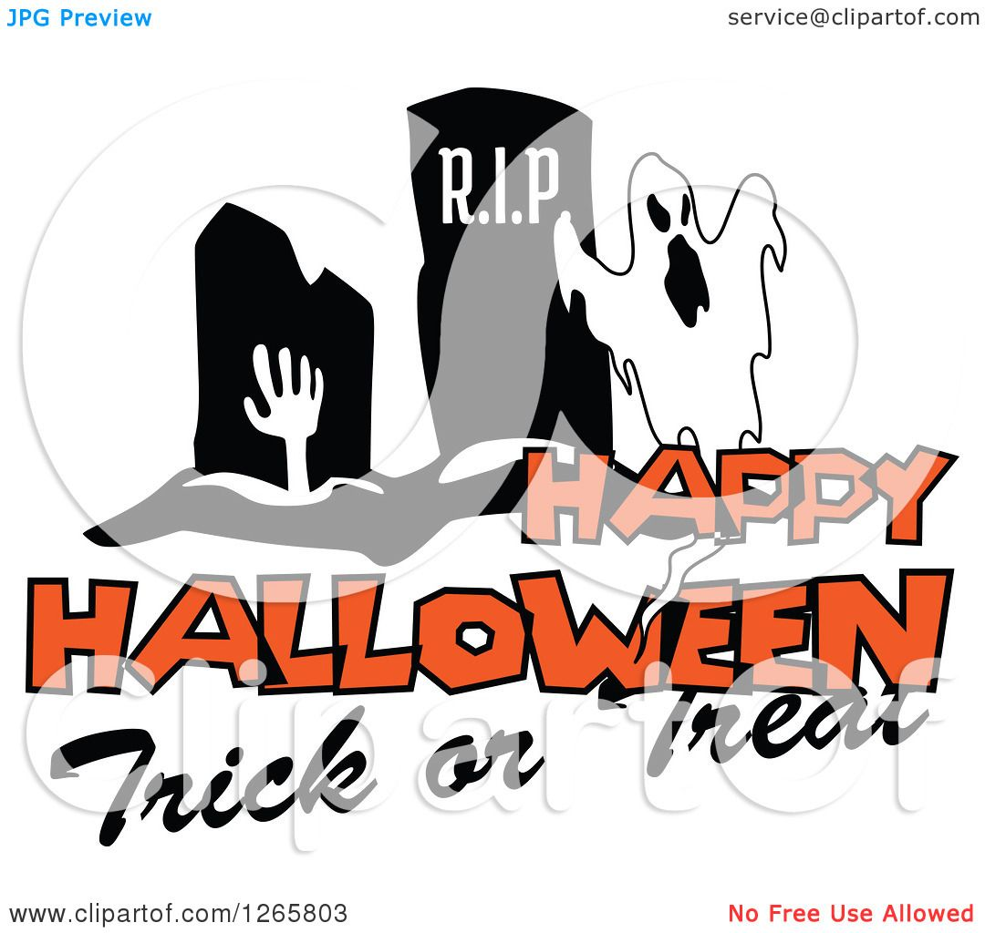 Clipart Of A Happy Halloween Trick Or Treat Ghost And Zombie Design    Royalty Free Vector Illustration By Vector Tradition SM