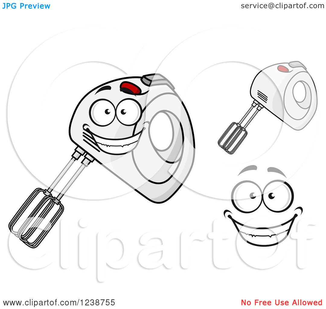 Hand Mixer Clip Art ~ Clipart of a happy hand mixer royalty free vector