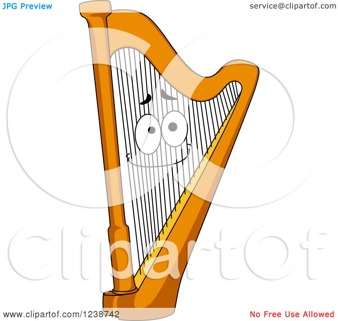 Clipart of a Happy Harp - Royalty Free Vector Illustration by ...