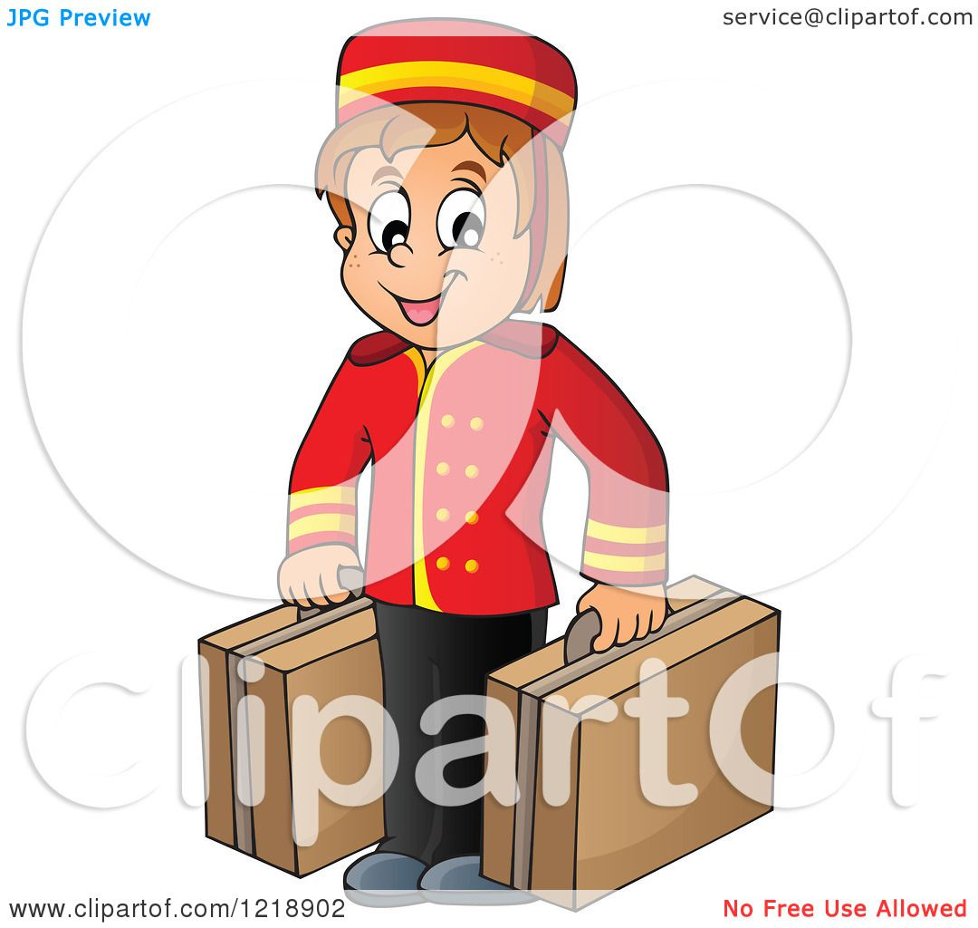 Clipart Of A Happy Hotel Bellhop Worker Boy With Luggage