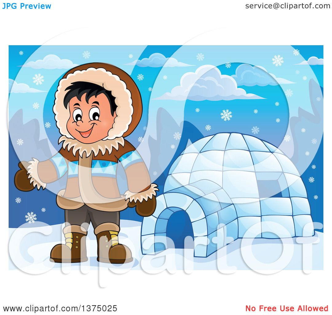 clipart of a happy inuit eskimo boy presenting by an igloo