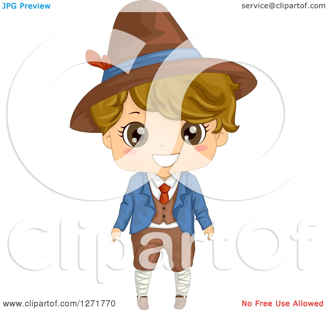 Clipart of a Happy Italian Boy in Traditional Clothes