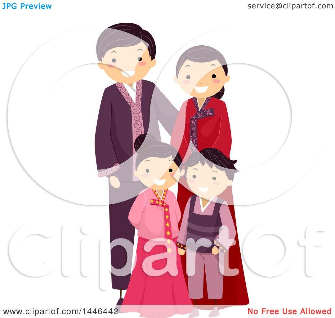 Clipart Of A Happy Korean Family In Traditional Clothing Royalty