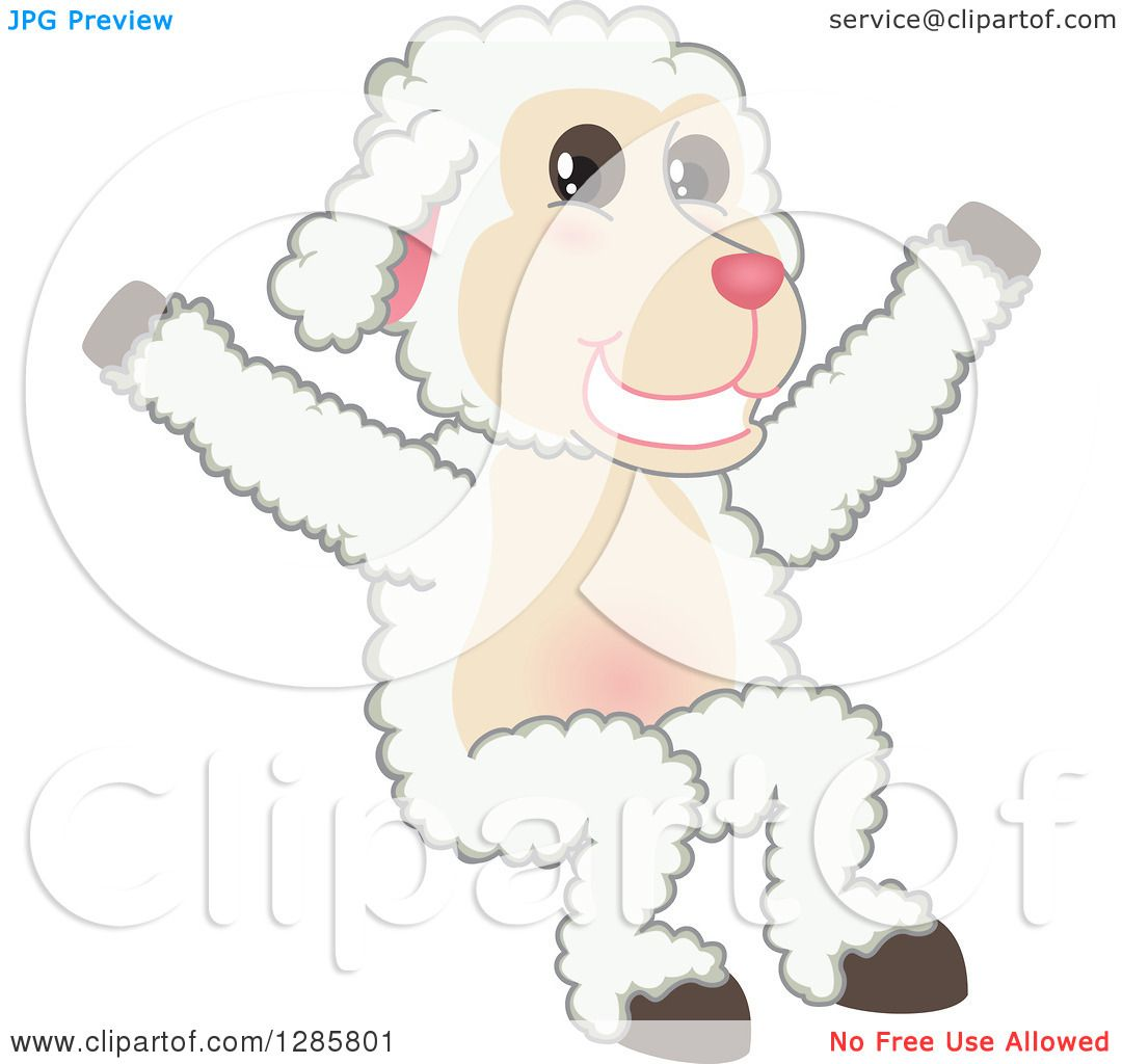 Clipart of a Happy Lamb Mascot Character Jumping - Royalty Free ... for Happy Lamb Jumping  585eri