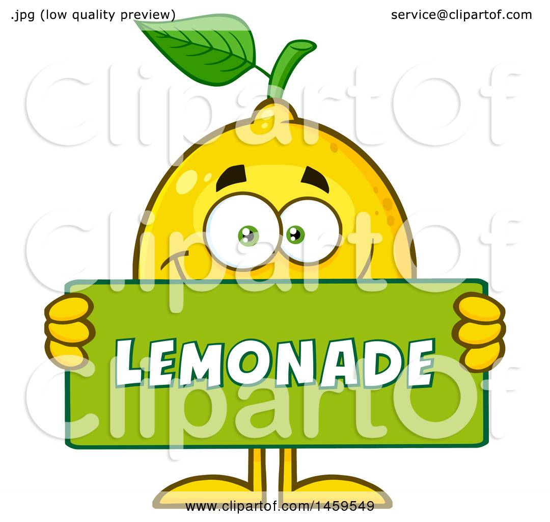 clipart of a happy lemon mascot character holding a lemonade sign