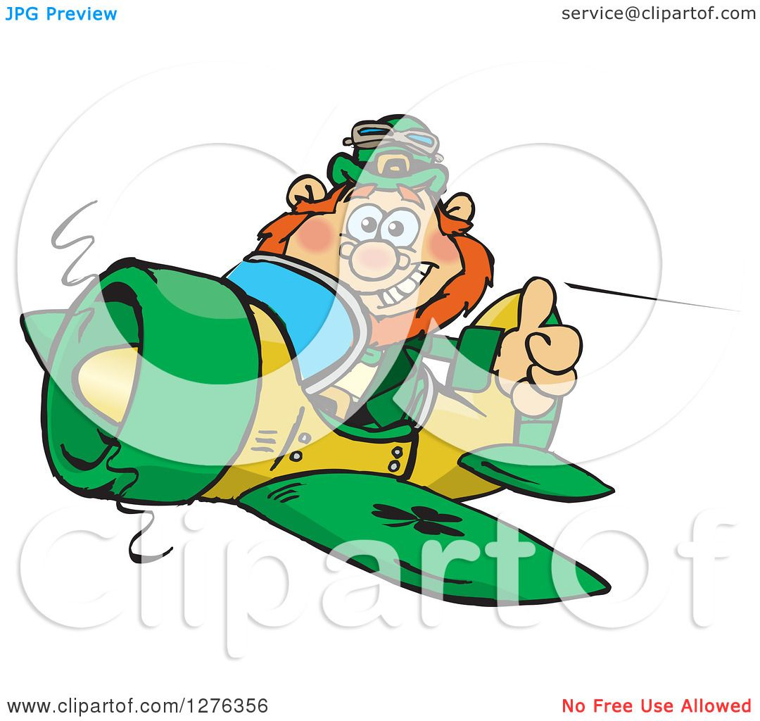 clipart of a happy leprechaun holding a thumb up and flying a