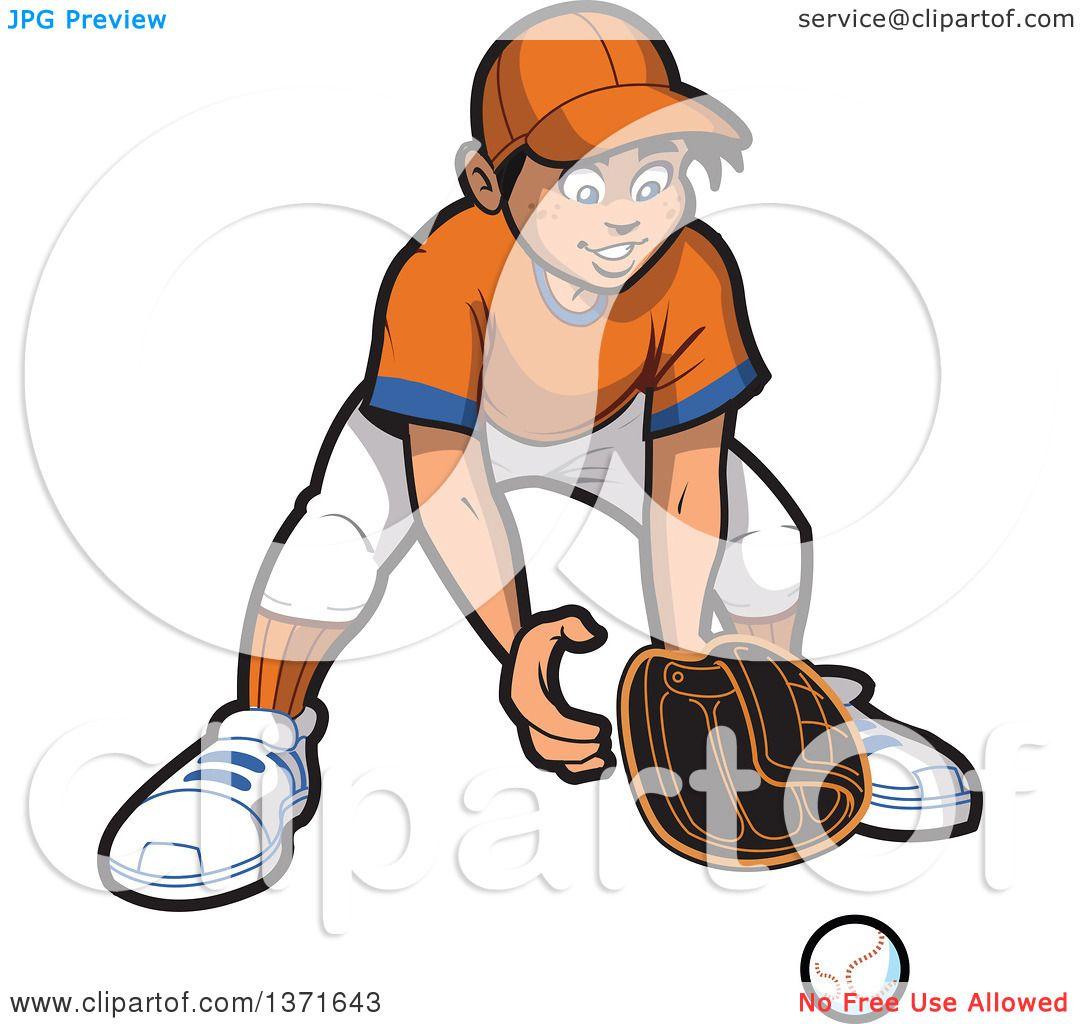 clipart of a happy male baseball player boy outfielder ready for a rh clipartof com Cute Tennis Clip Art Tennis Ball Clip Art