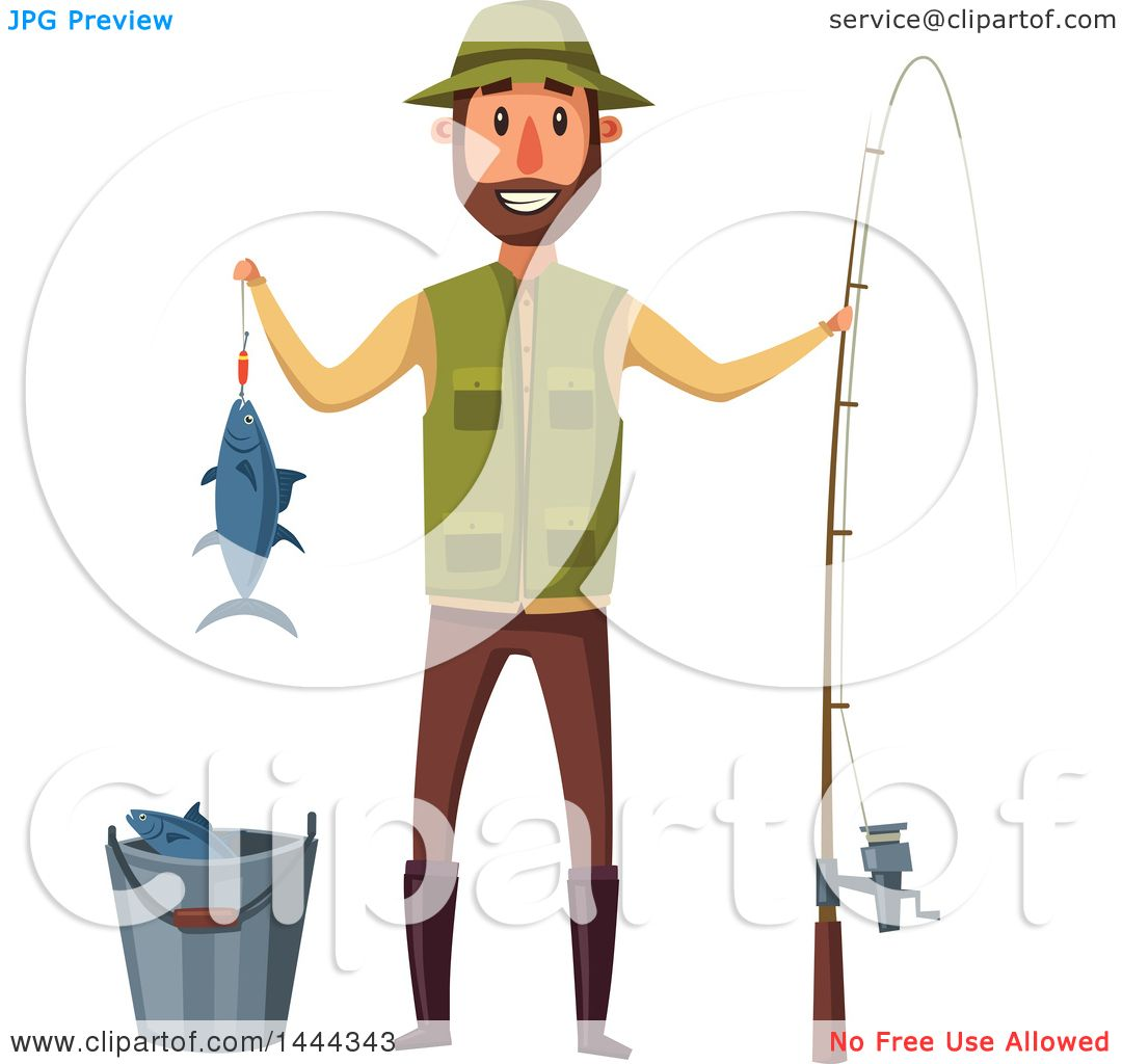Clipart Of A Happy Man Holding His Caught Fish And