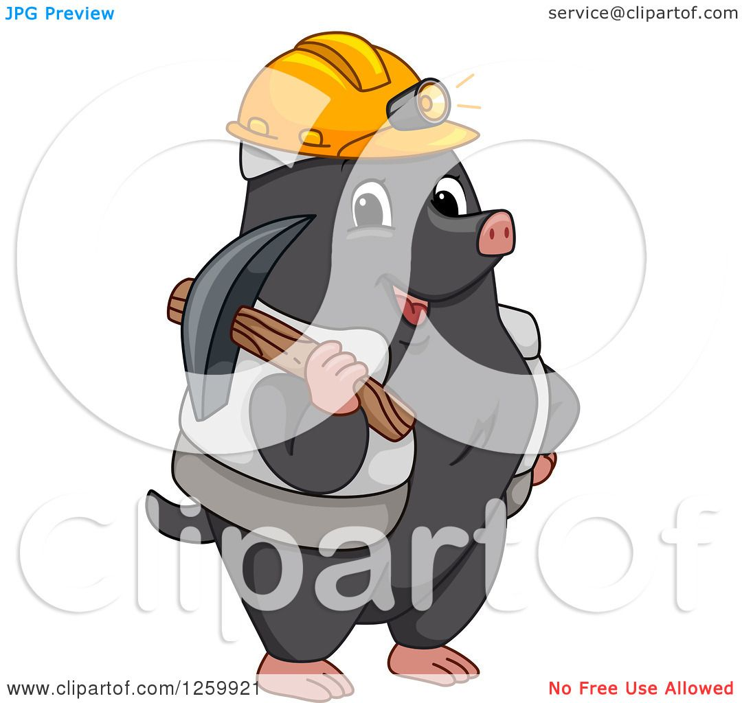 Clipart of a Happy Miner Mole with Gear - Royalty Free Vector ...