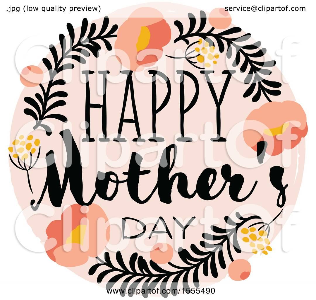 Clipart of a Happy Mothers Day Greeting in a Floral Frame - Royalty ...