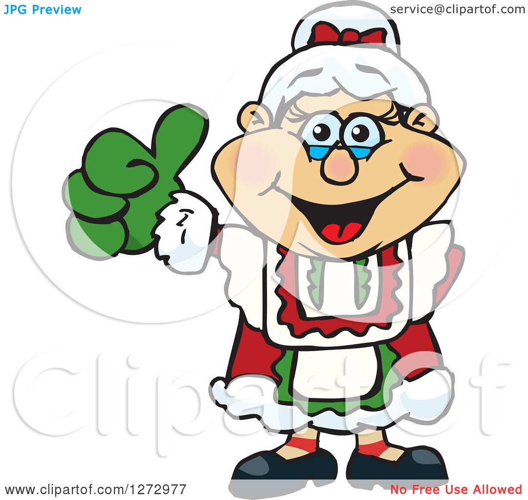 clipart of a happy mrs claus giving a thumb up royalty free vector rh clipartof com mrs. claus clipart images mrs. claus clipart images
