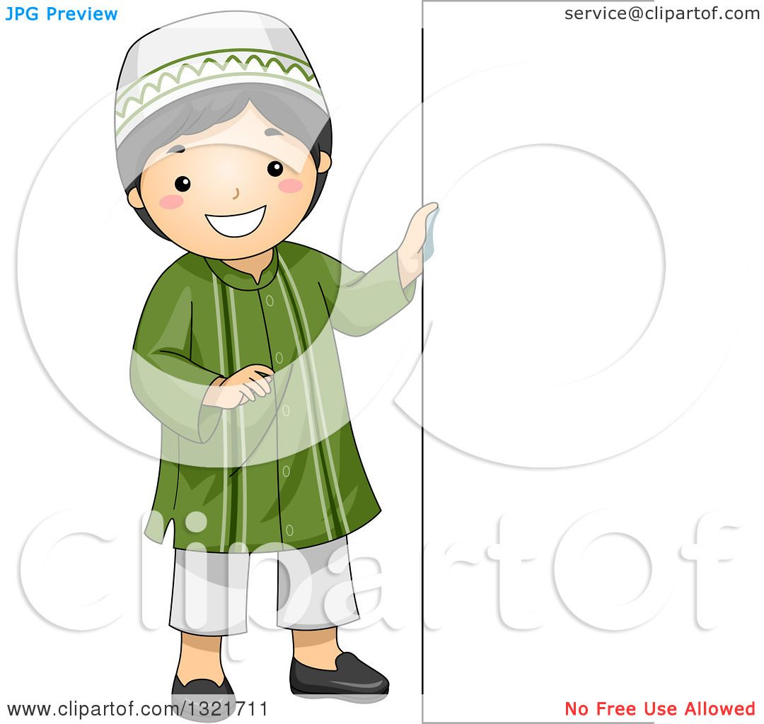Clipart of a Happy Muslim Boy Standing by a Sign Board ...