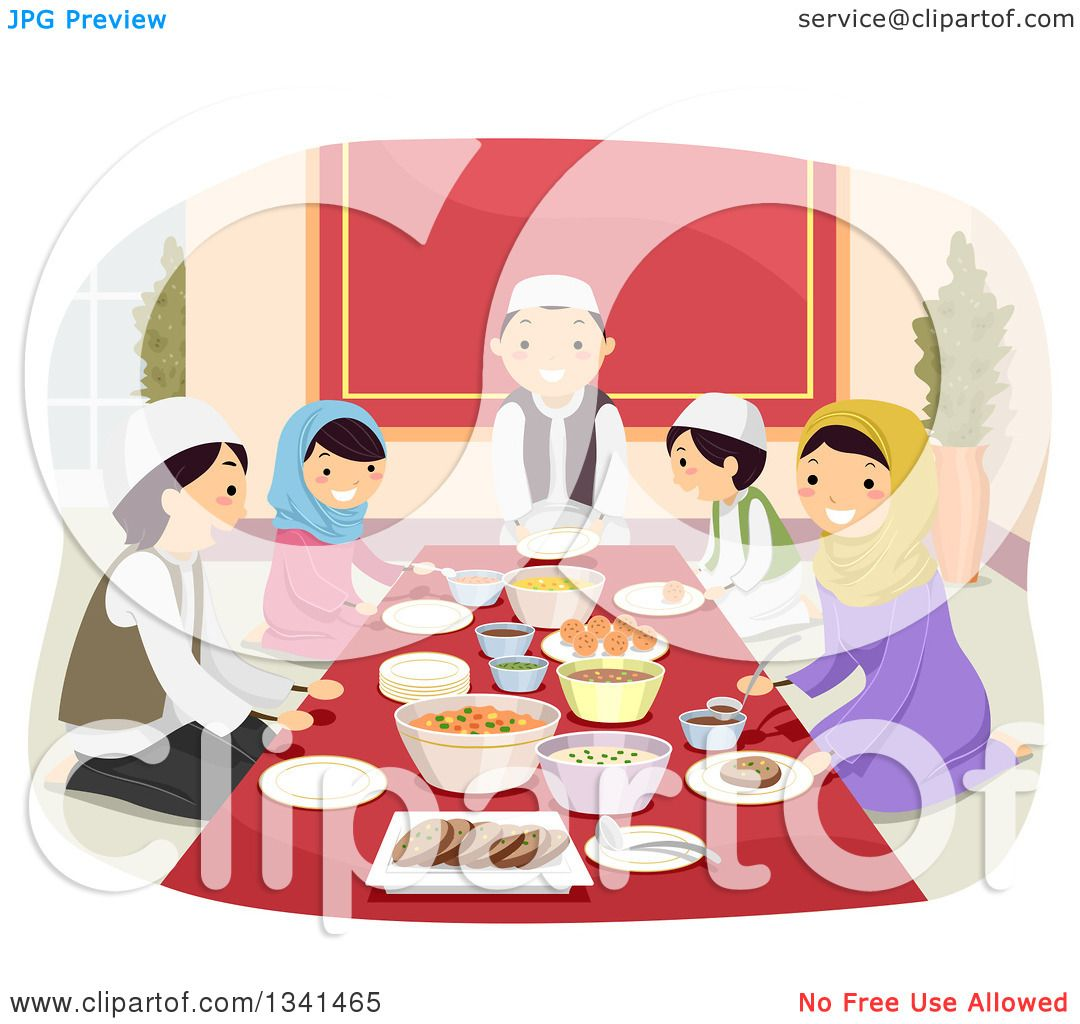Clipart of a Happy Muslim Family Eating a Meal Together - Royalty ...