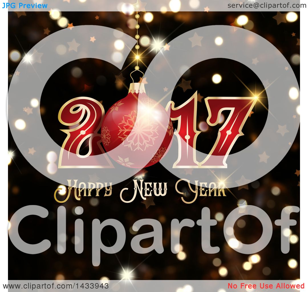 Clipart of a happy new year 2017 greeting with a bauble over clipart of a happy new year 2017 greeting with a bauble over flares royalty free vector illustration by kj pargeter kristyandbryce Image collections