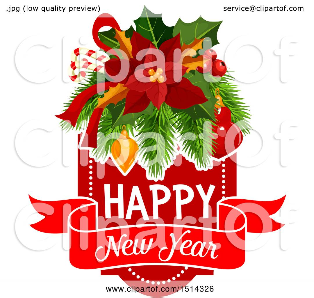 Clipart of a happy new year greeting with poinsettia with candy clipart of a happy new year greeting with poinsettia with candy canes holly branches and baubles royalty free vector illustration by vector tradition sm kristyandbryce Image collections