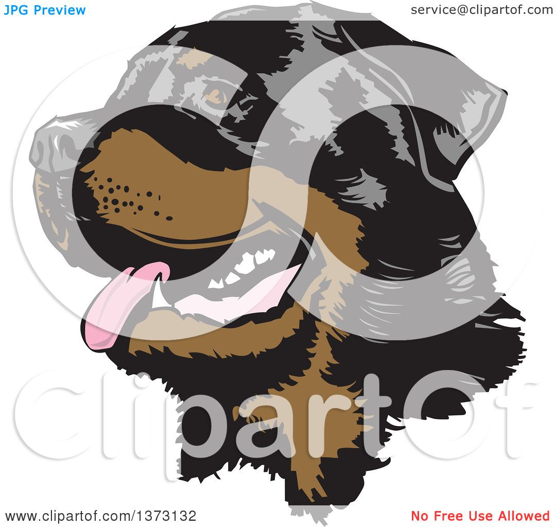 clipart of a happy panting rottweiler dog face royalty free