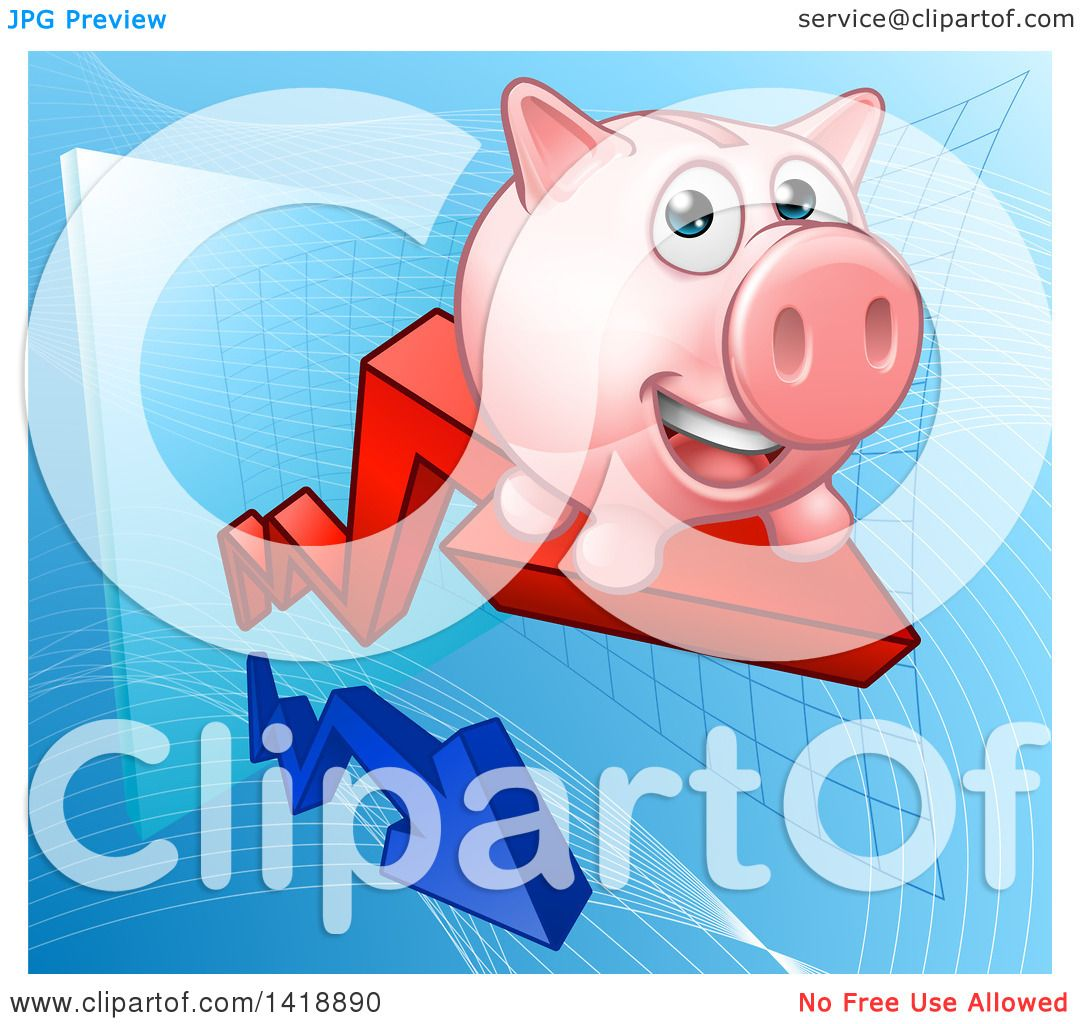 Clipart of a Happy Pink Piggy Bank Riding a Growth Stock ...
