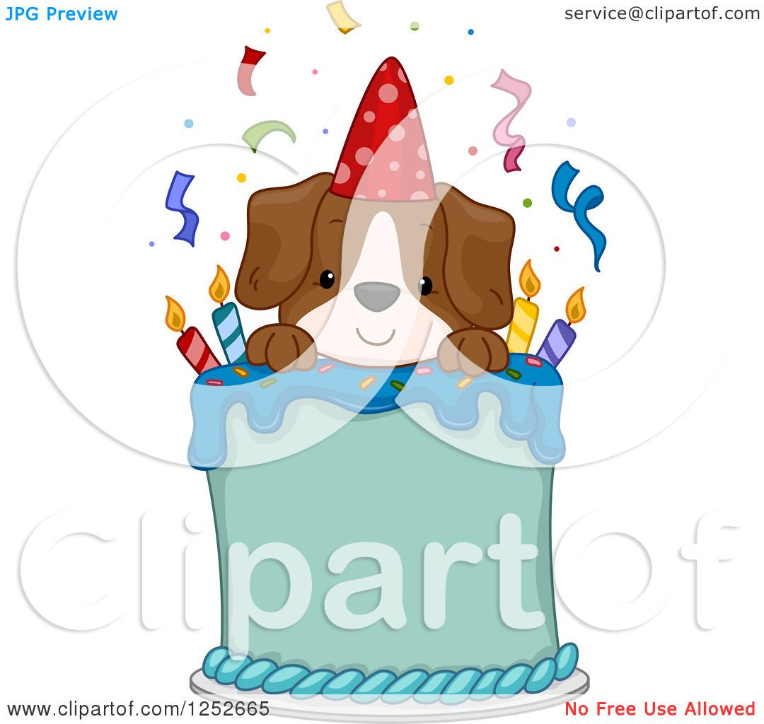 Clipart of a Happy Puppy Dog on a Birthday Cake - Royalty ...