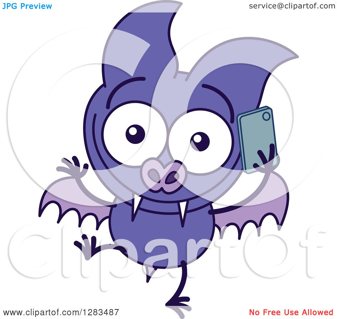 clipart of a happy purple vampire bat talking on a cell phone rh clipartof com Cell Phone Border Clip Art Restaurant Clip Art