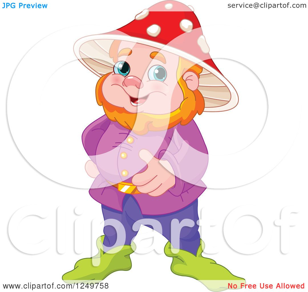 Gnome Clip Art: Clipart Of A Happy Red Haired Male Gnome With A Mushroom