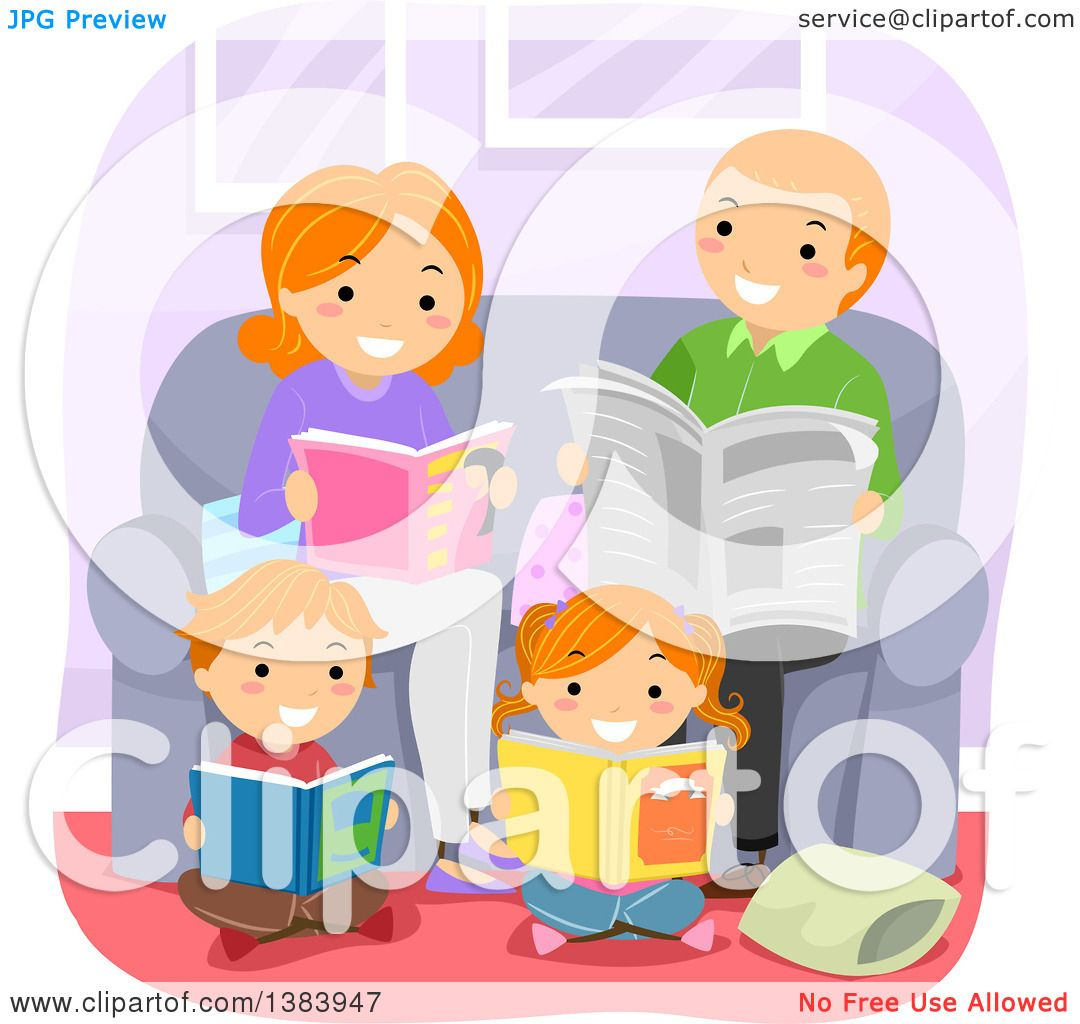 Clipart of a Happy Red Haired White Family Reading Books in a ...
