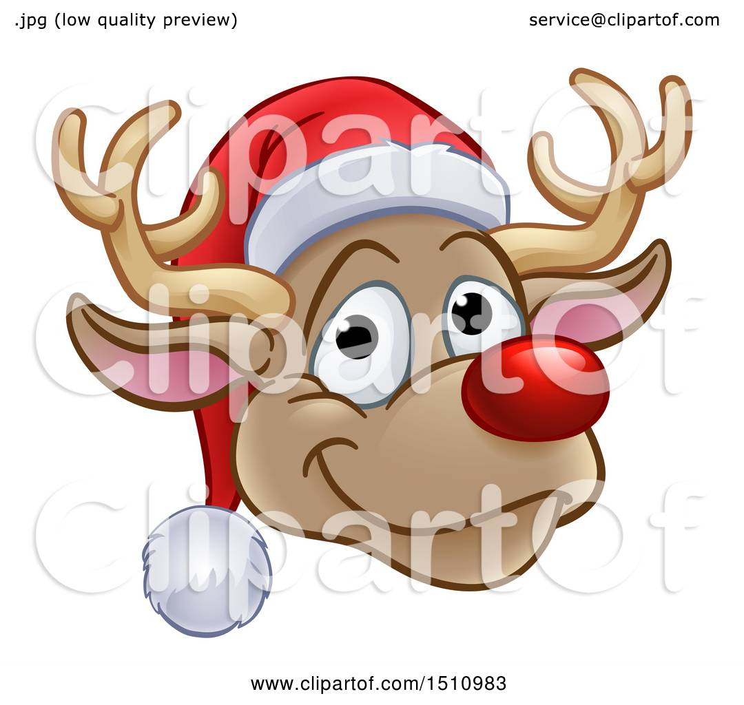 c4aa1e3220aff Clipart of a Happy Red Nosed Reindeer Face Wearing a Christmas Santa Hat - Royalty  Free