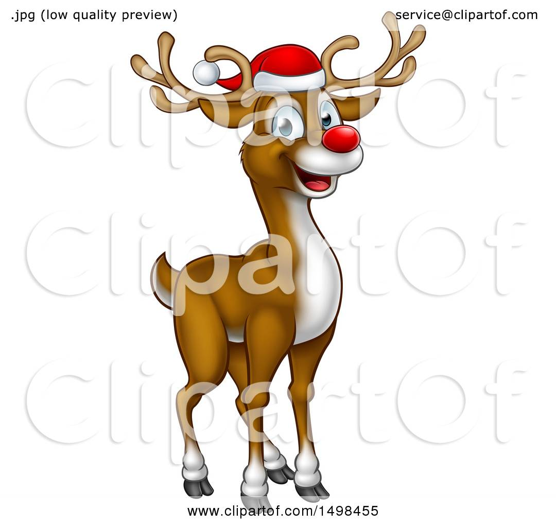 c2e3c19d54a1c Clipart of a Happy Red Nosed Reindeer Wearing a Christmas Santa Hat - Royalty  Free Vector
