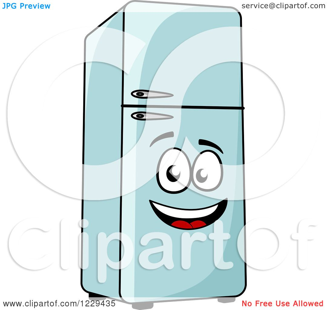 happy refrigerator clipart. clipart of a happy retro refrigerator - royalty free vector illustration by tradition sm