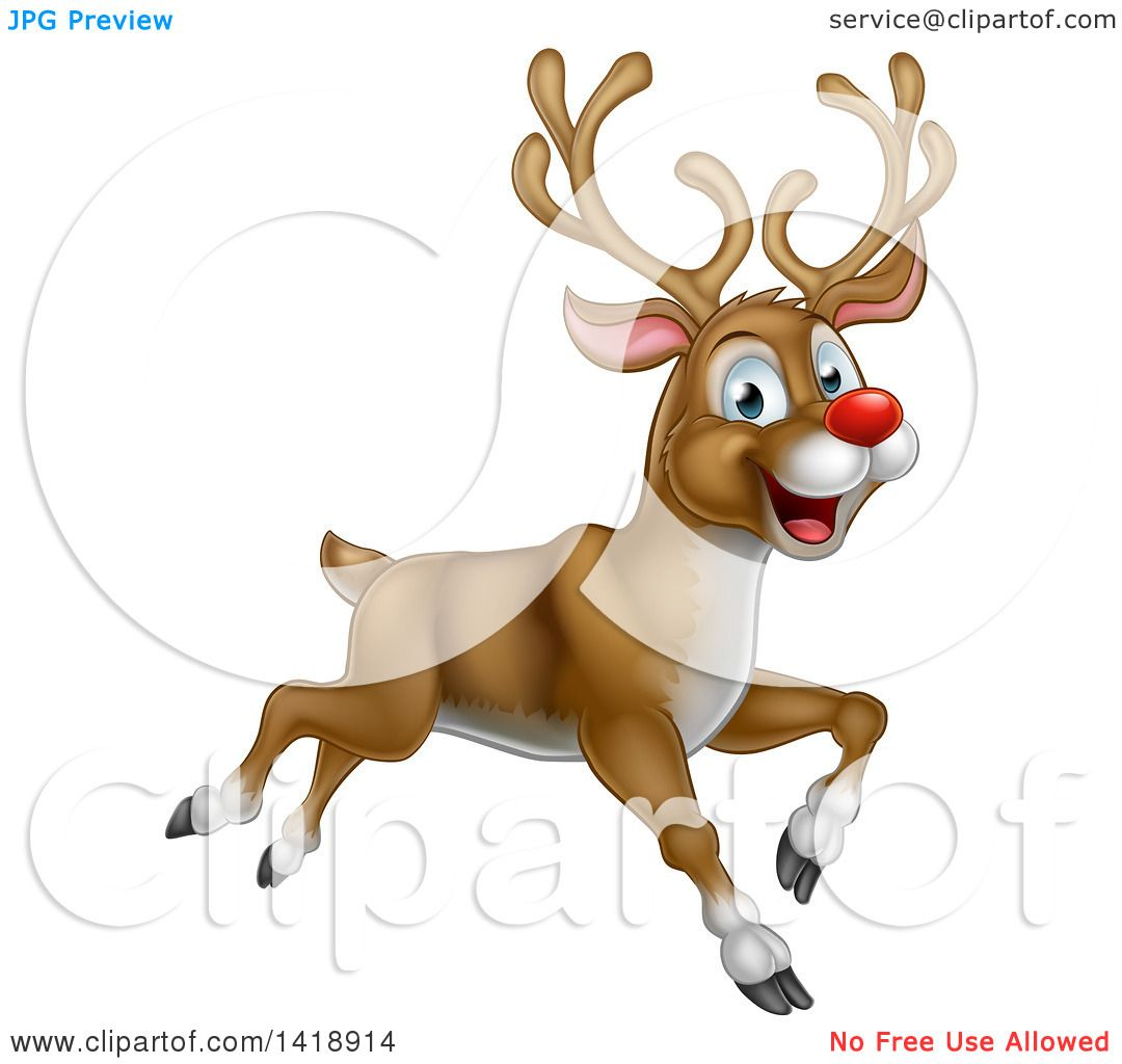 Clipart of a Happy Rudolph Red