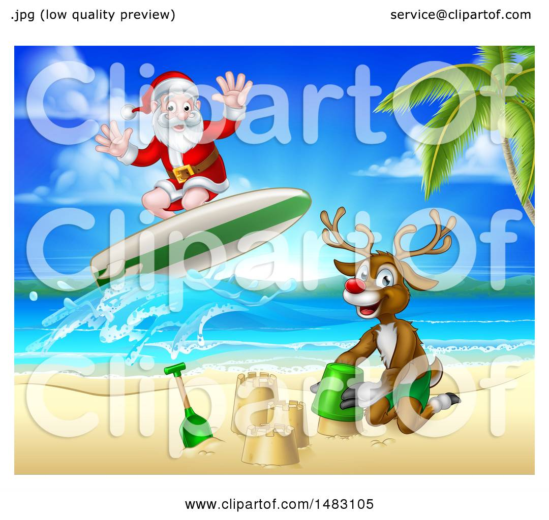 Clipart Of A Happy Rudolph Red Nosed Reindeer Making A Sand Castle And Santa Surfing Royalty Free Vector Illustration By Atstockillustration 1483105,Ikea Raskog Rolling Cart