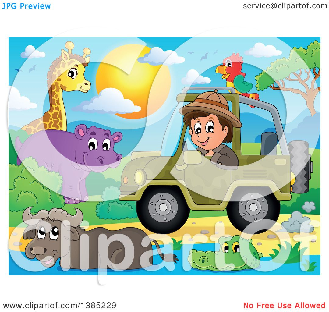 Clipart of a Happy Safari Man Driving a Jeep Around Animals ...