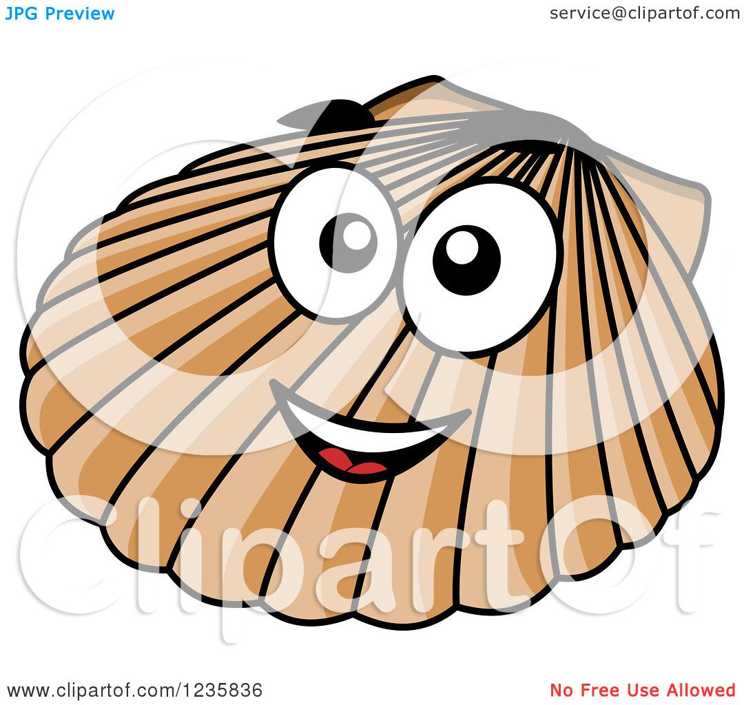 Clipart of a happy scallop shell royalty free vector - Clipart illustration ...