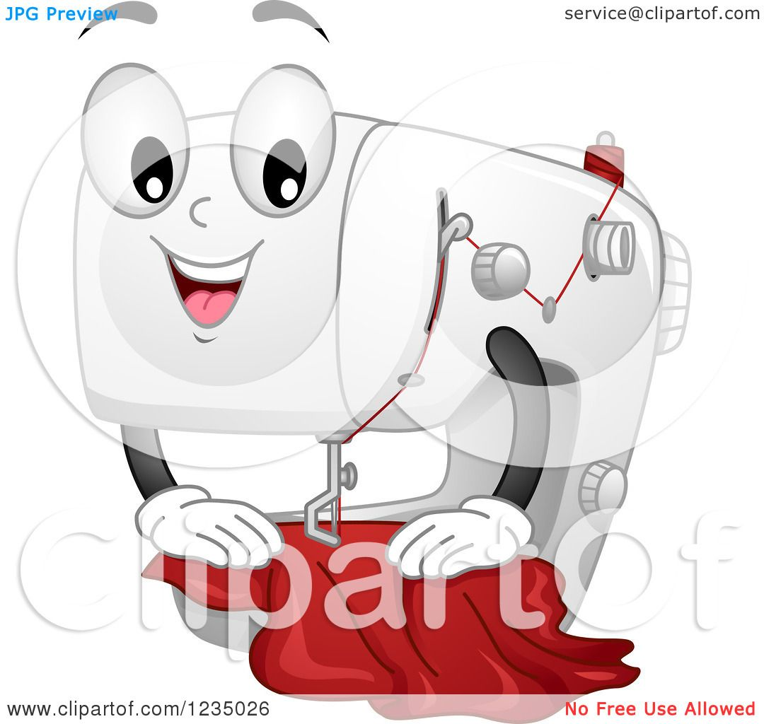 Clipart of a Happy Sewing Machine Mascot with Cloth - Royalty Free ...