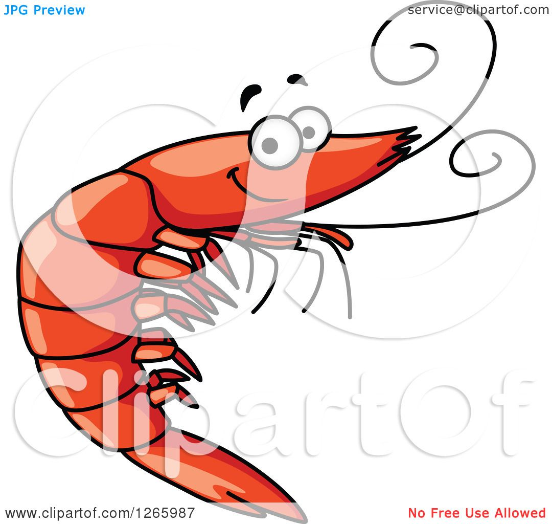 clipart of a happy shrimp royalty free vector illustration by rh clipartof com Shrimp and Fish Clip Art Shrimp Boats Clip Art Vector