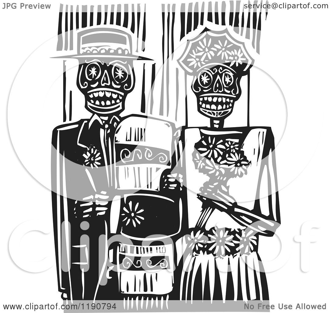 Clipart of a Happy Skeleton
