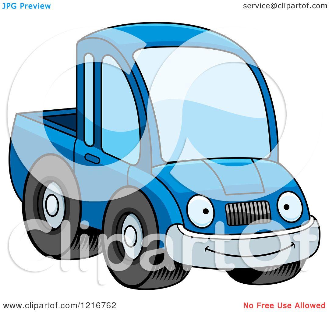 Green truck clipart royalty free rf pickup truck clipart - Clipart Of A Happy Smiling Blue Pickup Truck Mascot Royalty Free Vector Illustration