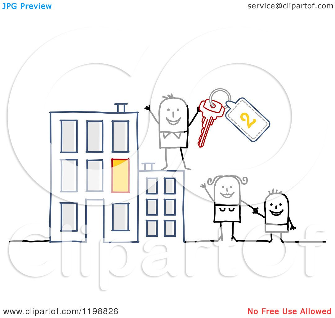 Free Apartment: Clipart Of A Happy Stick Family With Keys At An Apartment