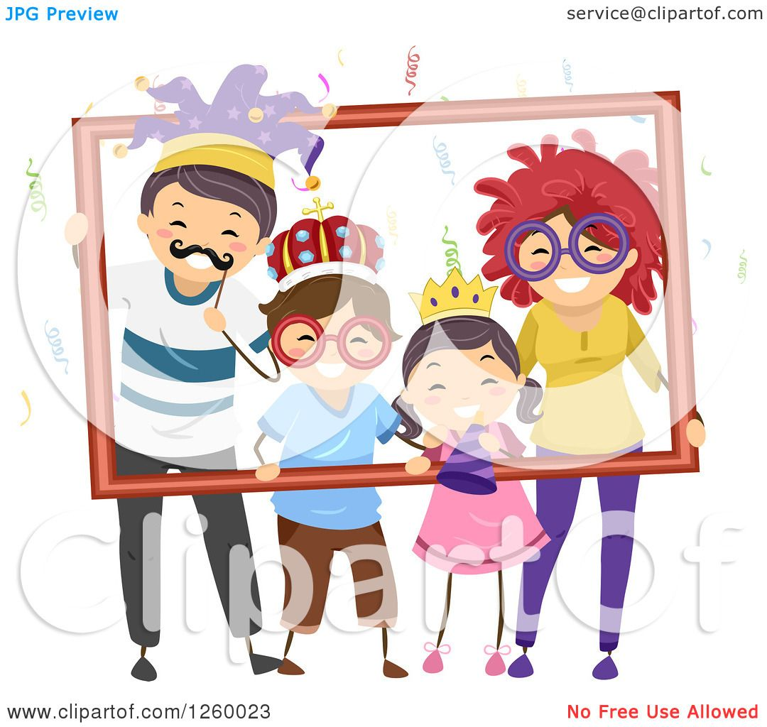 Clipart Of A Happy Stick Family With Party Accessories Posing And Holding Frame
