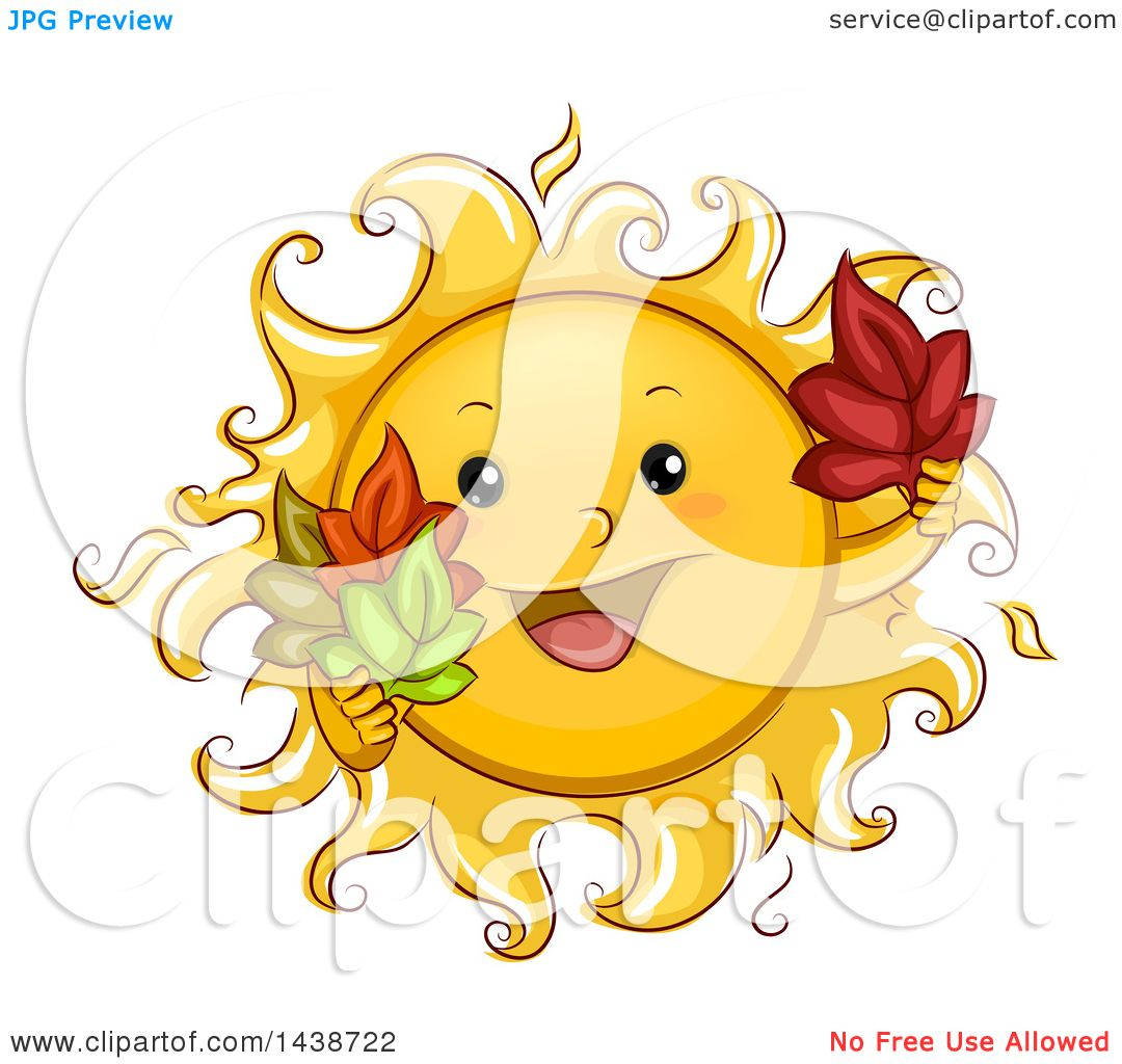Clipart of a Happy Sun Mascot Holding Autumn Leaves ...