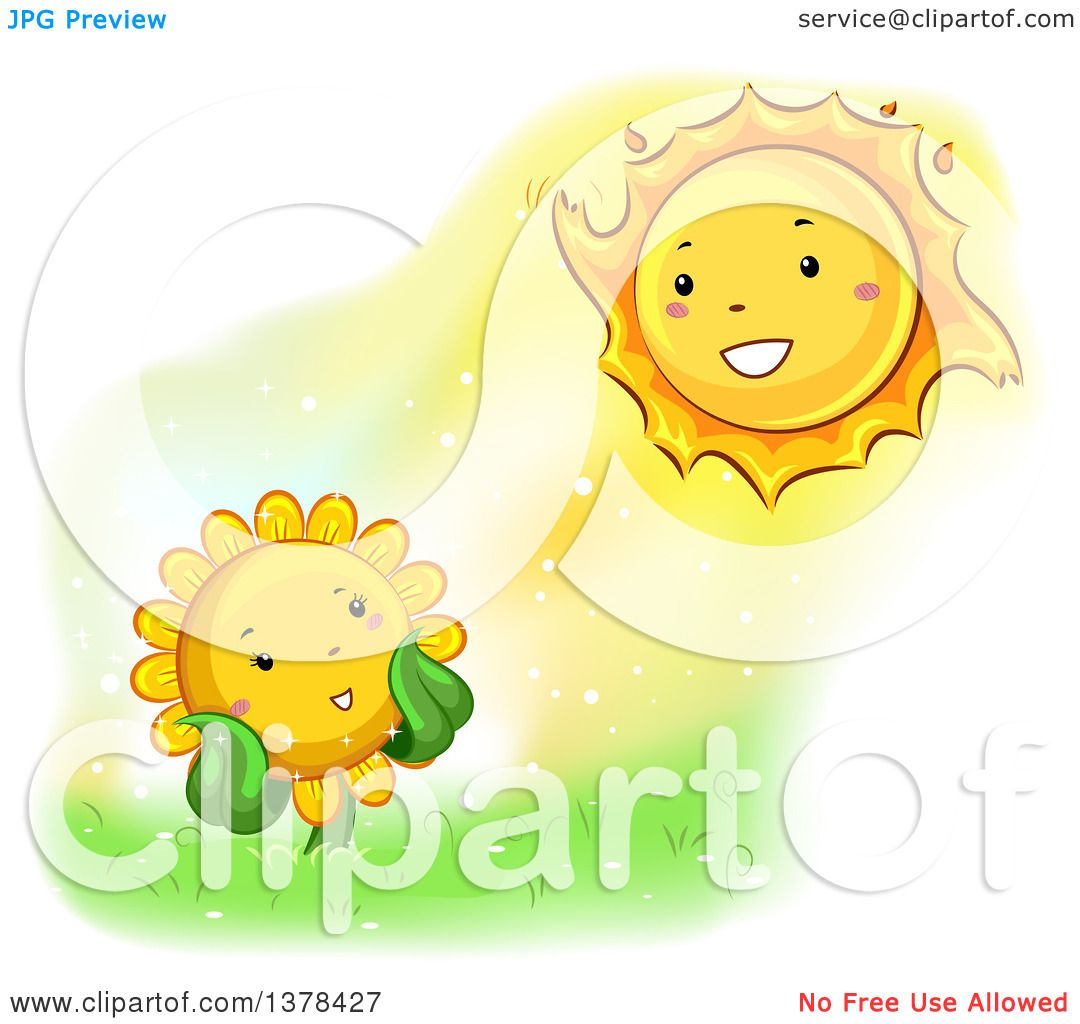 Clipart of a Happy Sunflower Smiling at the Sun - Royalty ...