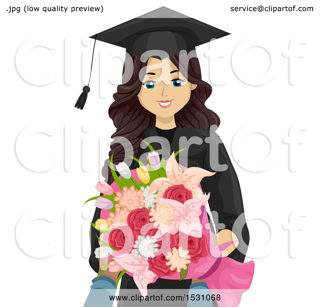 Clipart of a Happy Teen Graduate Girl Holding Flowers ...